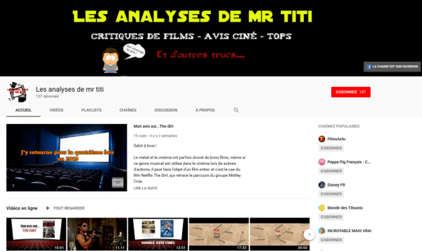 Page d'accueil chaine YouTube Les Analyses Mr Titi